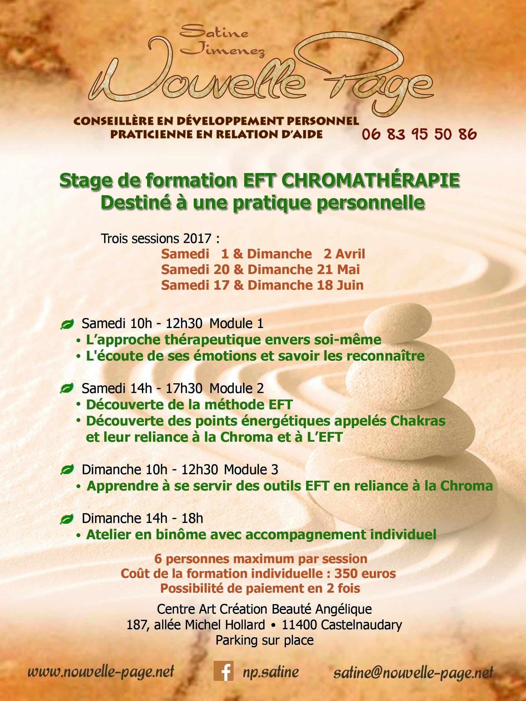 Affiche Stage de Formation EFT Chromathérapie